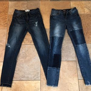 Lot of skinny distressed/boho patchwork jeans
